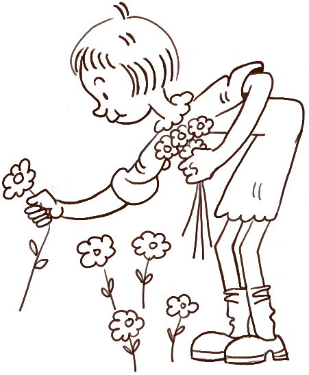 451x547 How To Draw A Girl Picking Flowers For Valentines Day Or Mothers