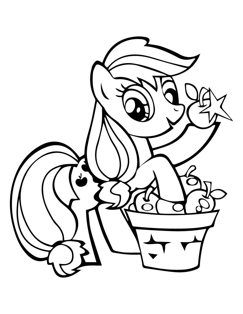 820x1060 My Little Pony Applejack Pick Apples Coloring Page