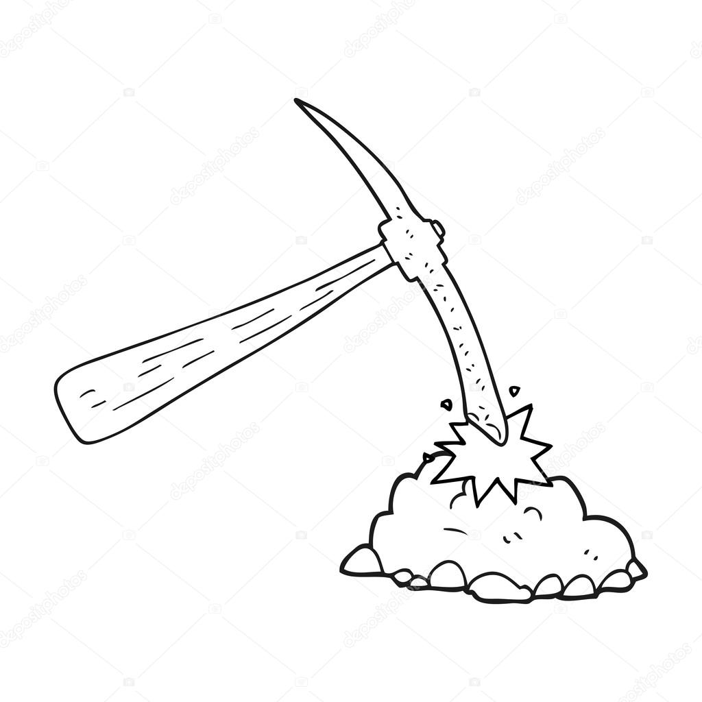 1024x1024 Black And White Cartoon Pick Axe Stock Vector Lineartestpilot