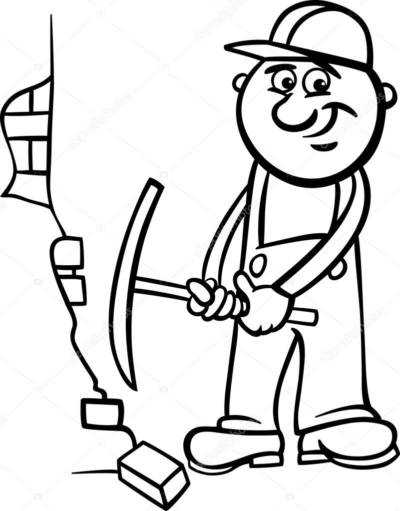 801x1023 Worker With Pick Coloring Page Stock Vector Izakowski