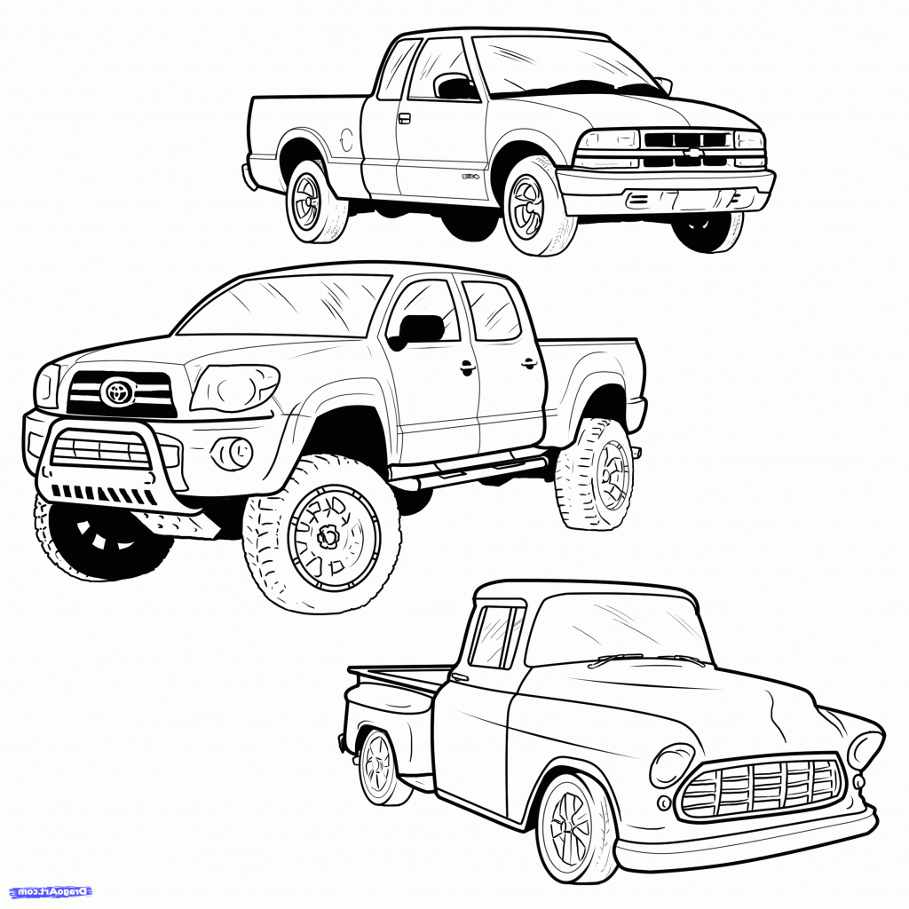 1024x1024 Cartoon Drawings Trucks How To Draw A Pickup Truck Step 1 Cakepins