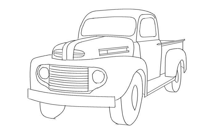 700x415 Old Ford Truck Drawing Old Trucks Chevy, Chevy