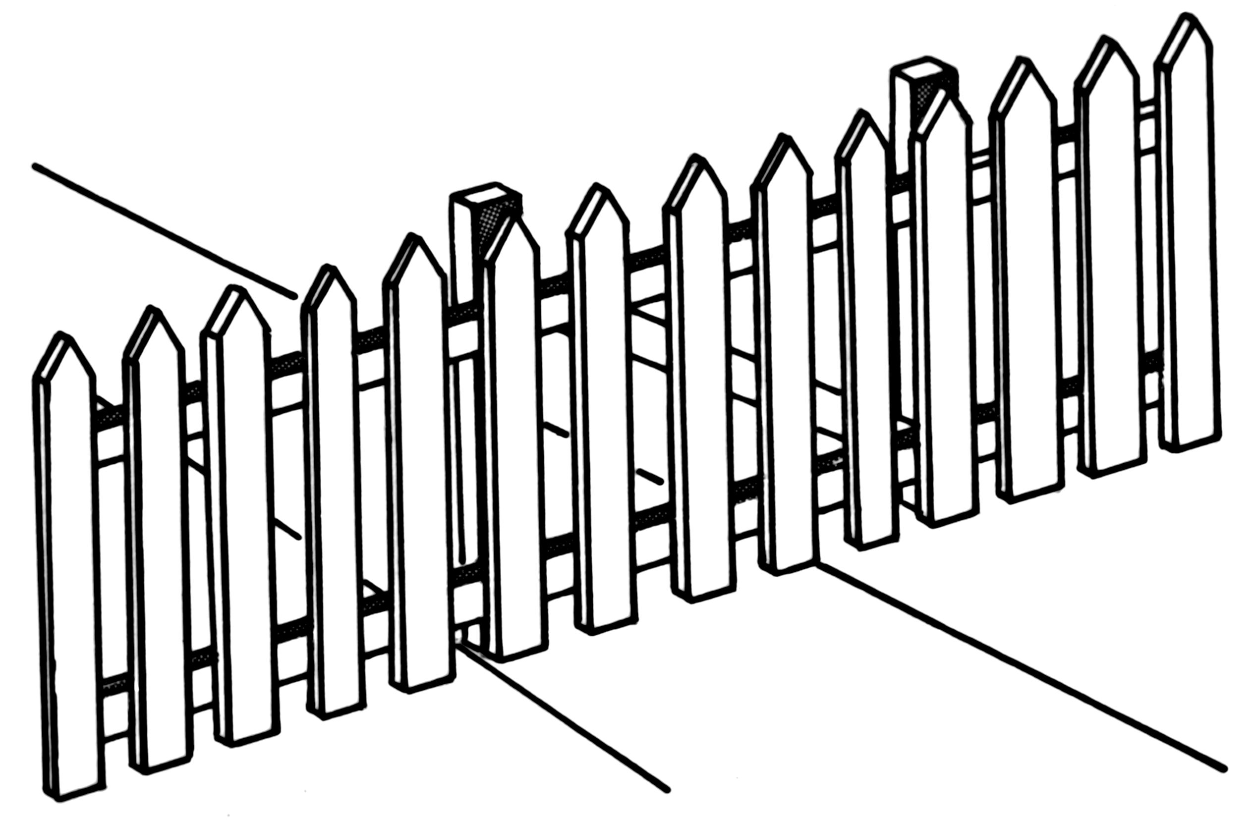 This is a graphic of Old Fashioned Picket Fence Drawing