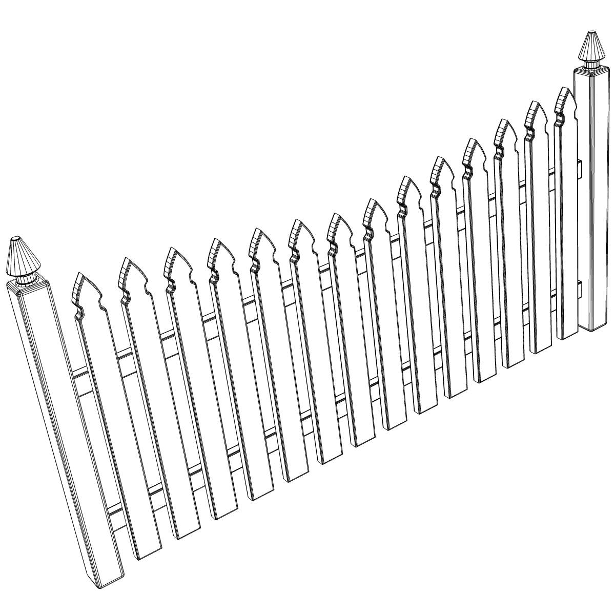 picket fence drawing. 1200x1200 Gothic Spaced Picket Fence 3D CGTrader Drawing