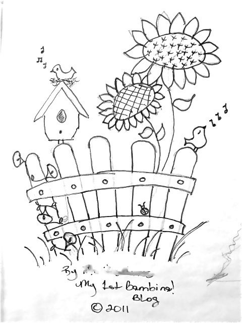 480x640 Picket Fence And Birdhouse Coloring Pages