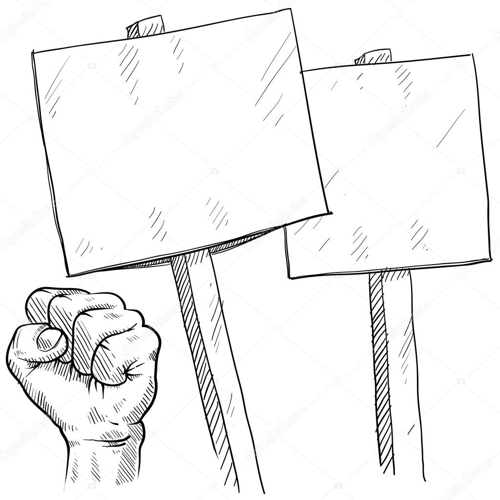 1024x1024 Picket Or Protest Objects Sketch Stock Vector Lhfgraphics