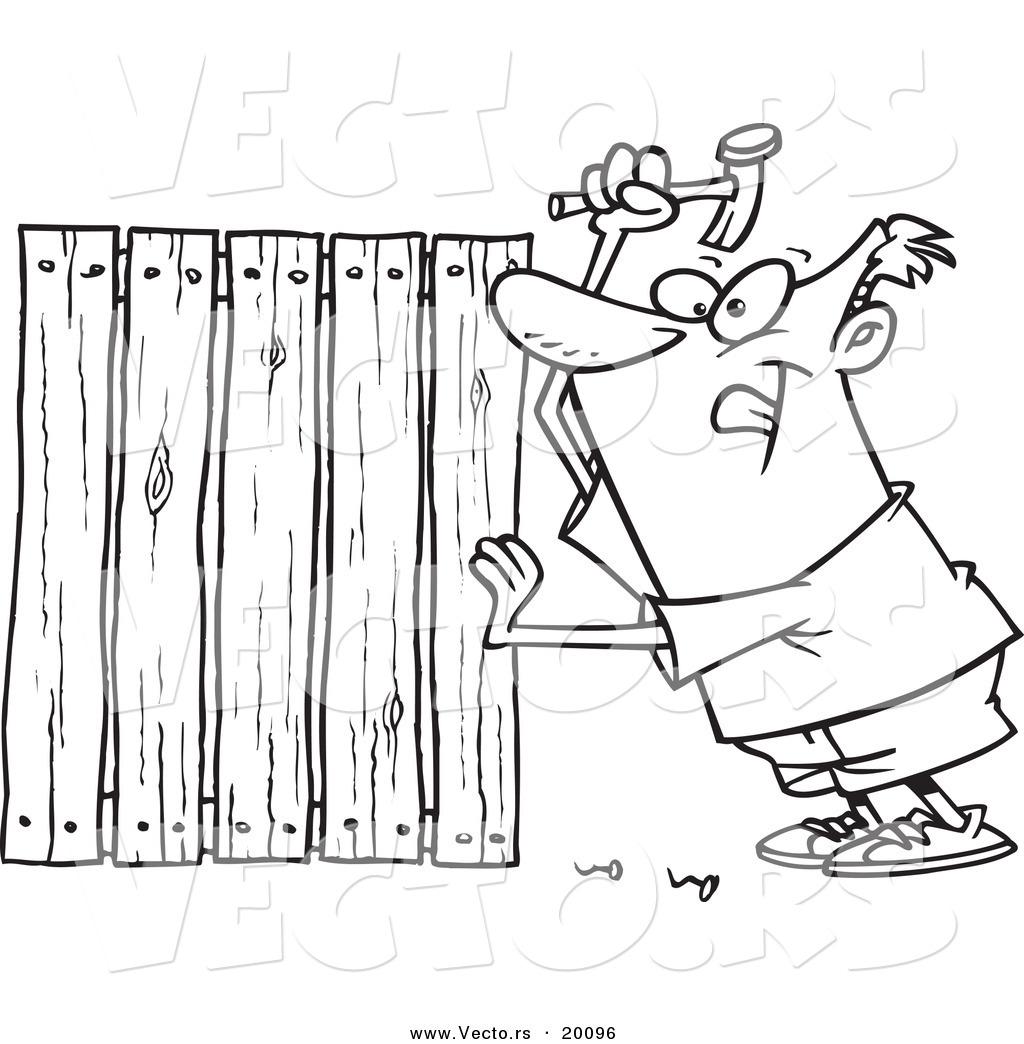 1024x1044 Vector Of A Cartoon Fencer Nailing Boards