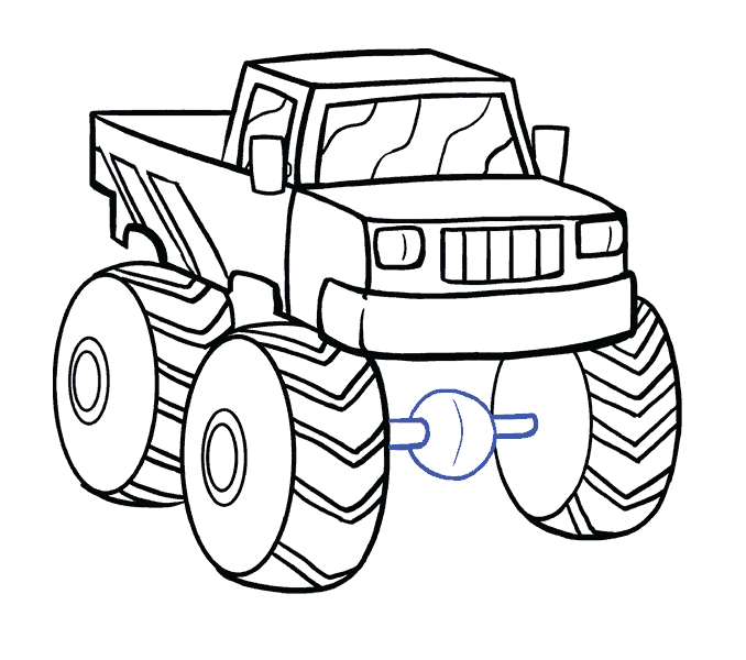 678x600 How To Draw A Monster Truck In A Few Easy Steps Easy Drawing Guides