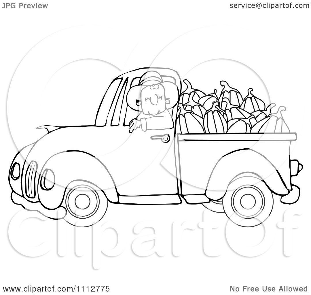 1080x1024 Clipart Outlined Cowboy Pumpkin Farmer Driving A Load In His