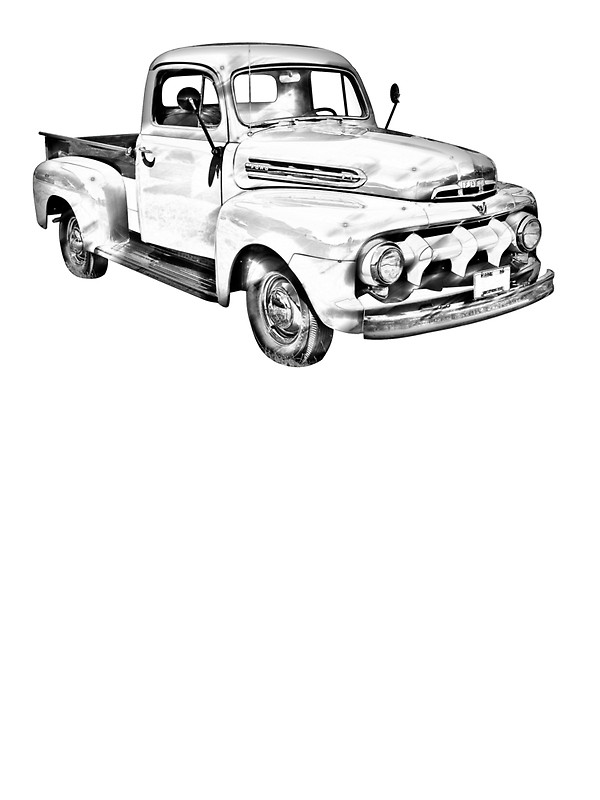 pickup truck drawing at getdrawings free for personal use 61 Ford Custom 500 600x800 1951 ford f 1 pickup truck illustration stickers by kwjphotoart