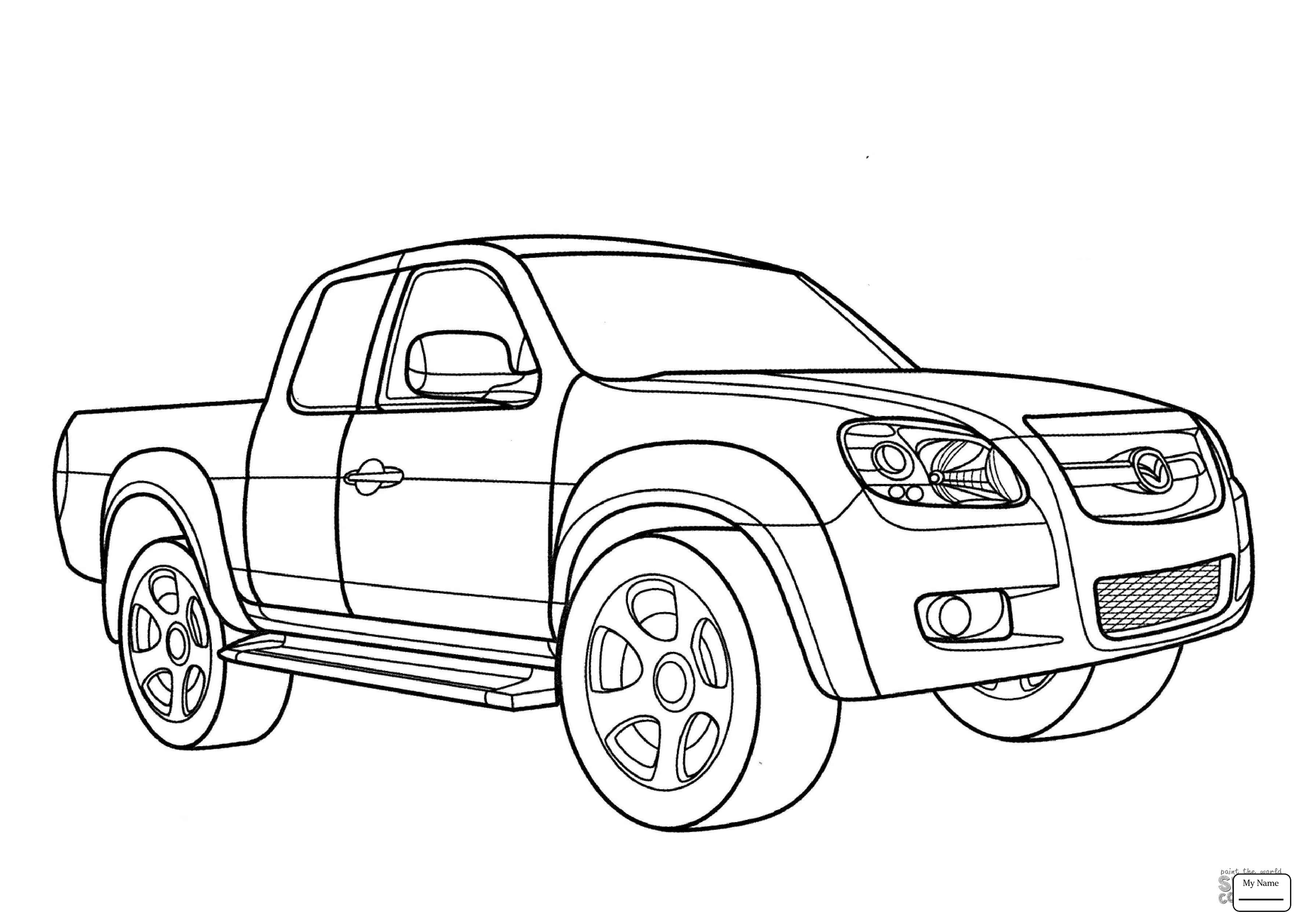 Pickup Truck Drawing At Free For Personal Use 1949 Ford 4x4 Trucks 3578x2530 Mazda Transport 3 Hatchback Coloring Pages