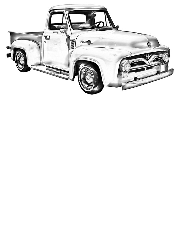 pickup truck drawing at getdrawings free for personal use Ford Ranchero 600x800 1955 f100 ford pickup truck illustration stickers by kwjphotoart