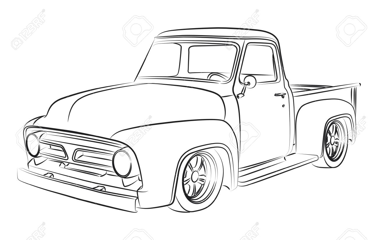 Pickup Truck Outline Drawing at GetDrawings.com | Free for personal ...