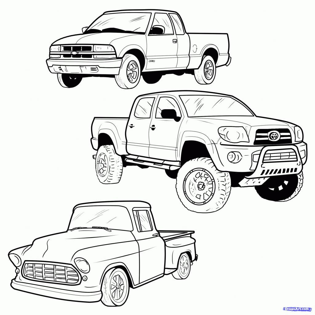 1024x1024 Cartoon Drawings Trucks How To Draw A Pickup Truck, Pickup Truck