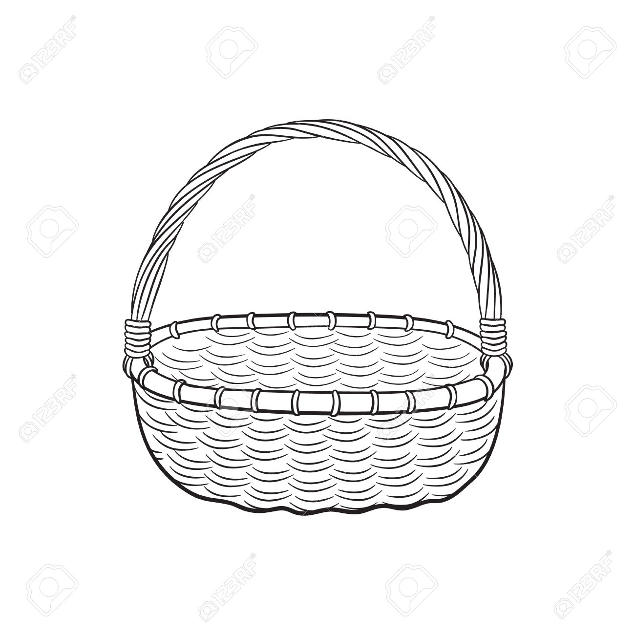 1300x1300 Hand Drawn Picnic Basket Isolated On White Background. Sketch