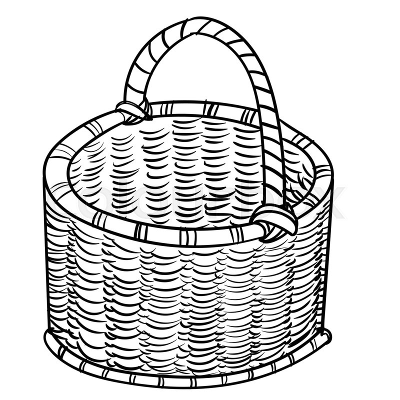 800x800 Hand Drawn Sketch Of Wicker Baskets Isolated, Black And White