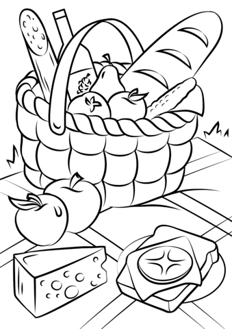 339x480 Picnic Basket Food Coloring Page Free Printable Coloring Pages