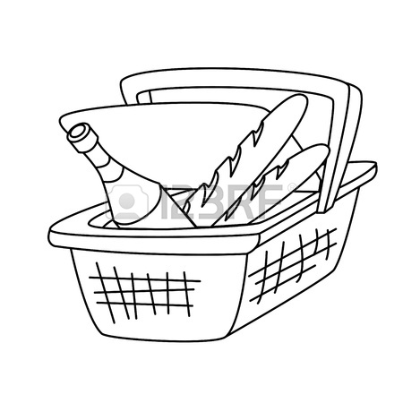 450x450 Picnic Basket With A Bottle Of Wine And A Loaf Of Bread Royalty