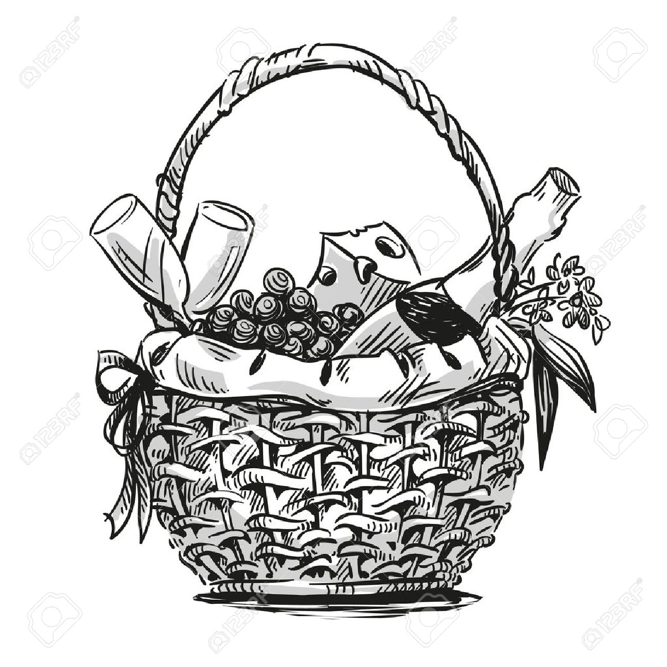 1300x1300 Picnic Basket With Snack. Hand Drawn. Royalty Free Cliparts