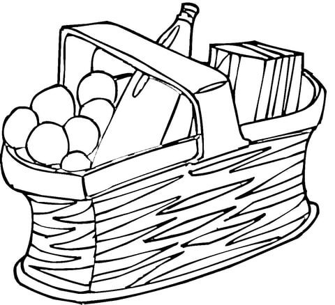 480x438 Picnic Basket Coloring Page Free Printable Coloring Pages