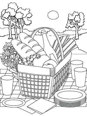 300x400 Picnic Coloring Pages Picnic Basket Coloring Pages Picnic Basket