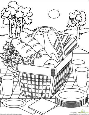 301x389 Color The Picnic Basket Picnic Baskets, Worksheets And Picnics