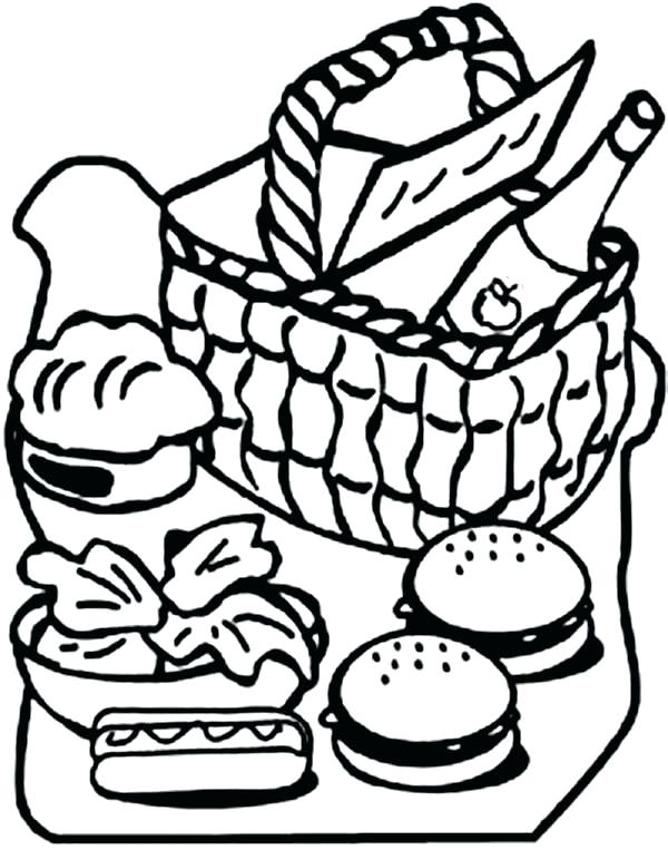 600x763 Picnic Coloring Page Picnic Coloring Pages Picnic Basket Full