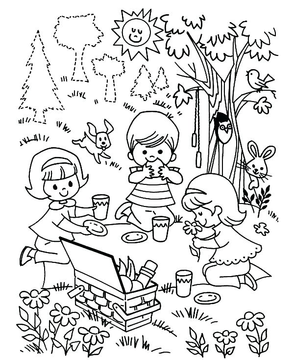 600x734 Picnic Coloring Pages Glamorous Picnic Coloring Pages For Your