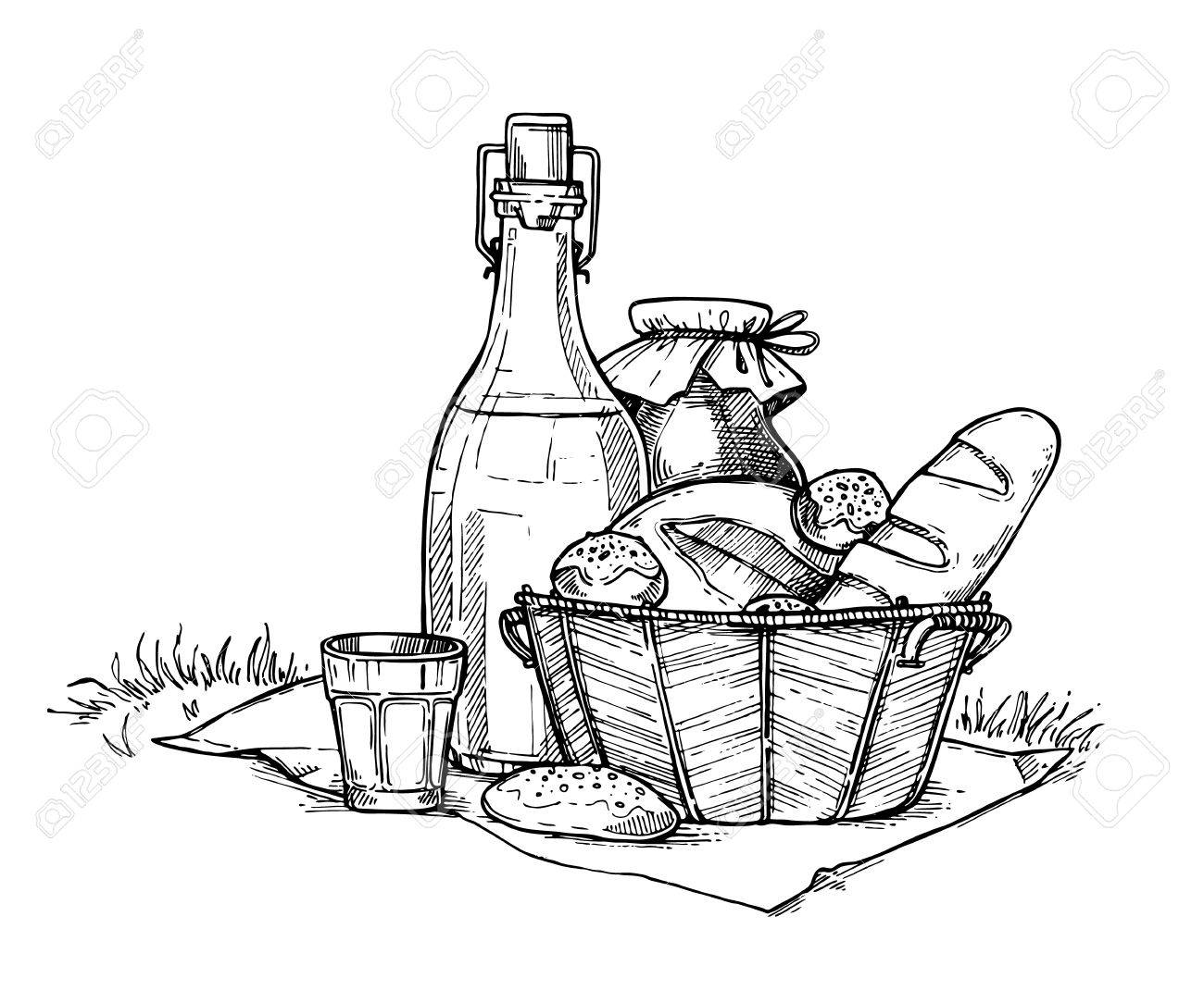 1300x1084 Farm Food Set Freehand Pencil Drawing Isolated On White Background