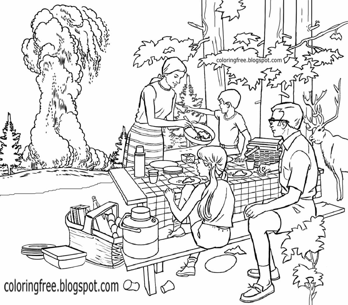 1200x1050 Drawing Of Picnic Scene Free Coloring Pages Printable Pictures