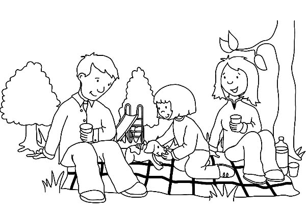 600x425 Family Picnic With My Parent Coloring Pages