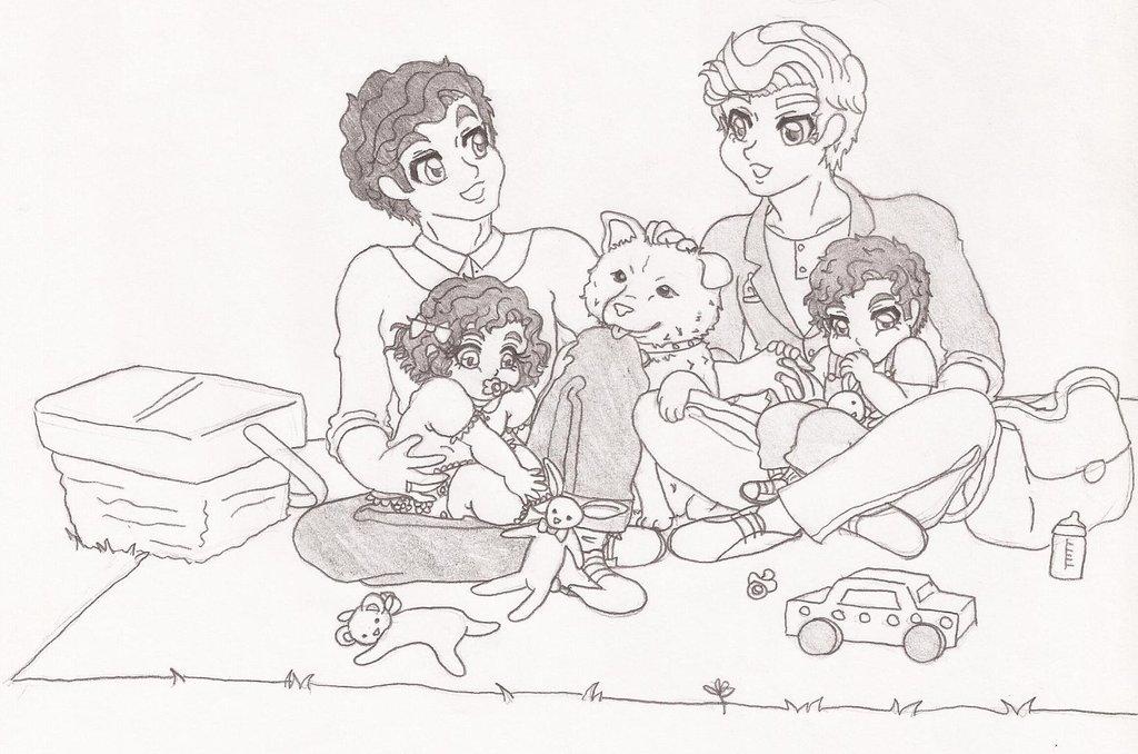 1024x678 Klaine Papa Twins Family Picnic By Hoshidess