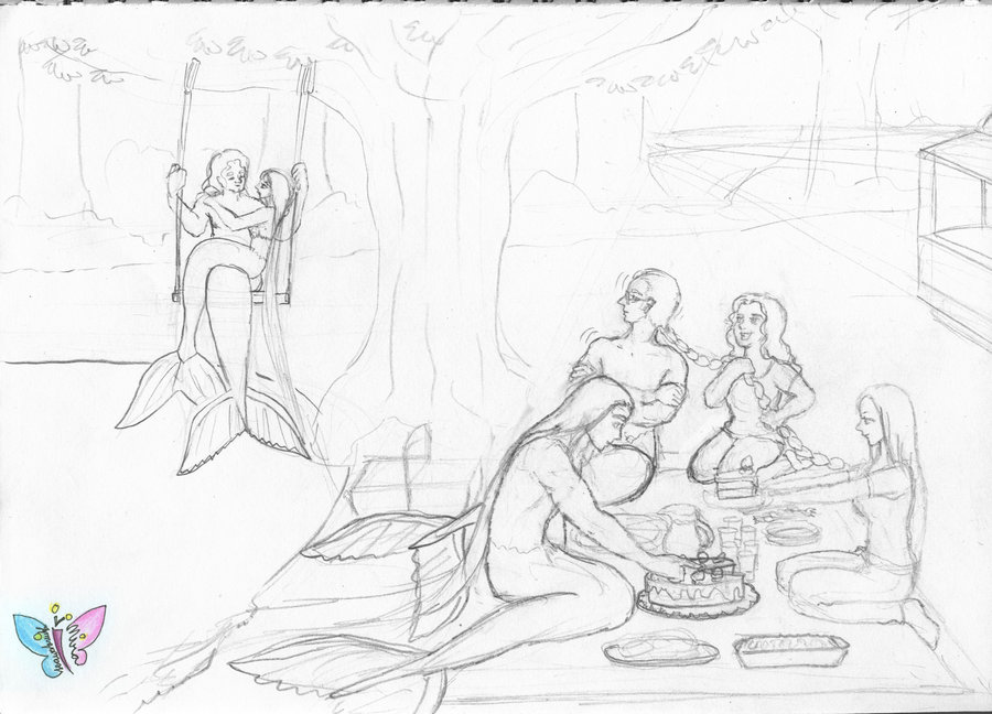 900x648 Pencil Sketch Mermen Picnic By Seawaterwitch