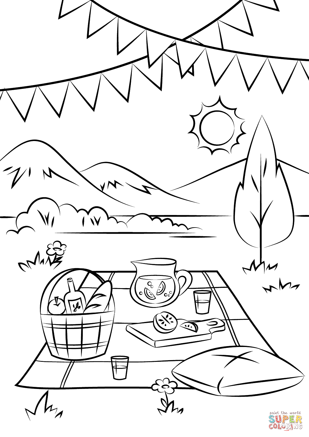 1060x1500 Picnic Scene Coloring Page Free Printable Coloring Pages