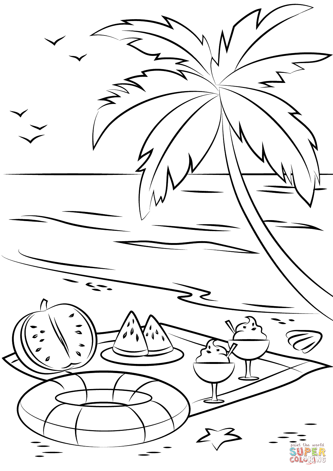 1060x1500 Summer Beach Picnic Coloring Page Free Printable Coloring Pages
