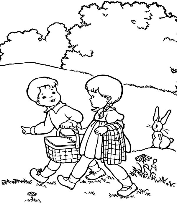 600x734 Two Kids Is Going To Picnic Coloring Page