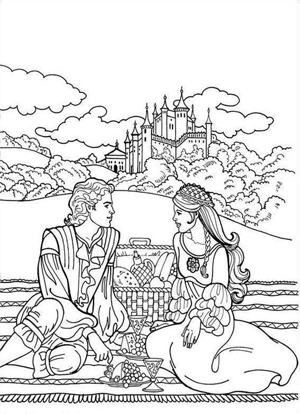 600x827 Boy And Girl Going Picnic Coloring Page