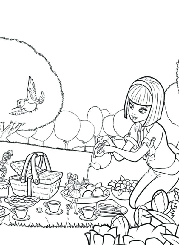 600x820 Picnic Coloring Page Barbie Going Picnic With Barbie Coloring