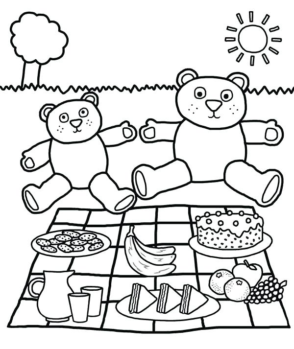 600x713 Picnic Coloring Pages Teddy Bears Picnic Coloring Page Picnic