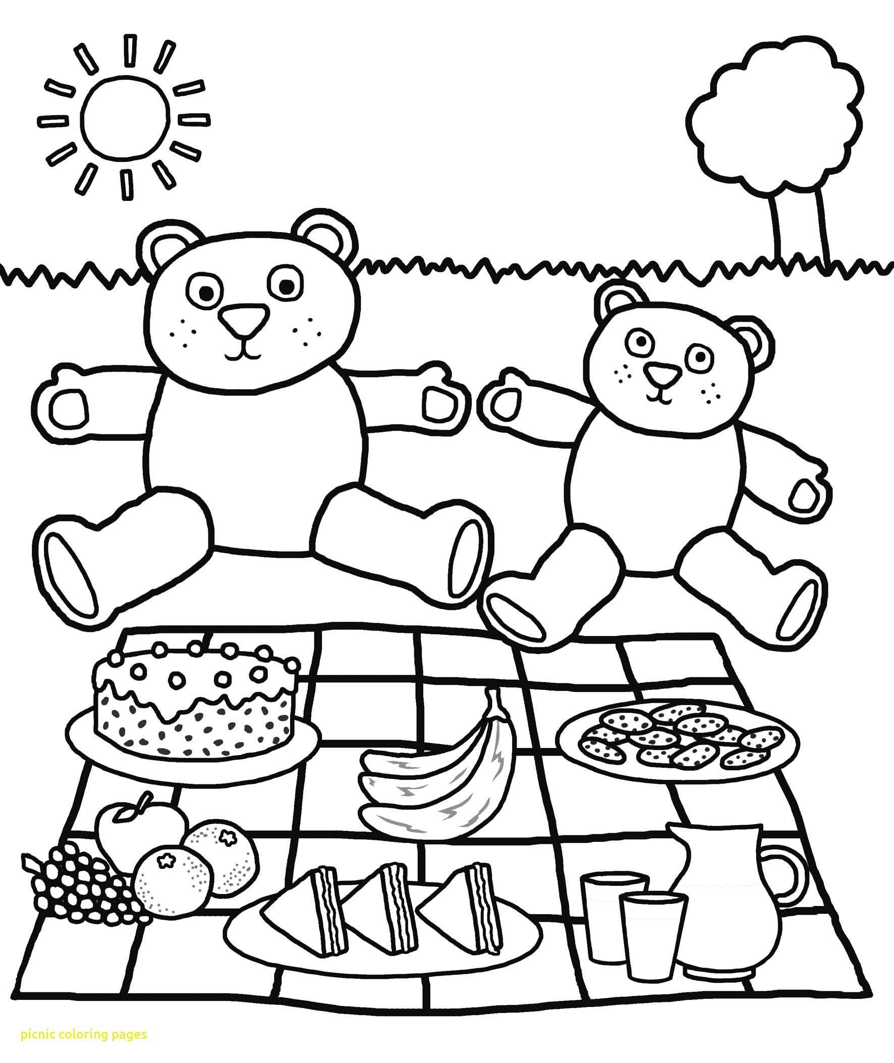 1772x2106 Picnic Coloring Pages With Picnic Spring Coloring Page