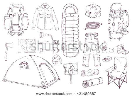450x331 Travel Sketch Bag Picnic Travel Objects Set Hand Drawn Vector