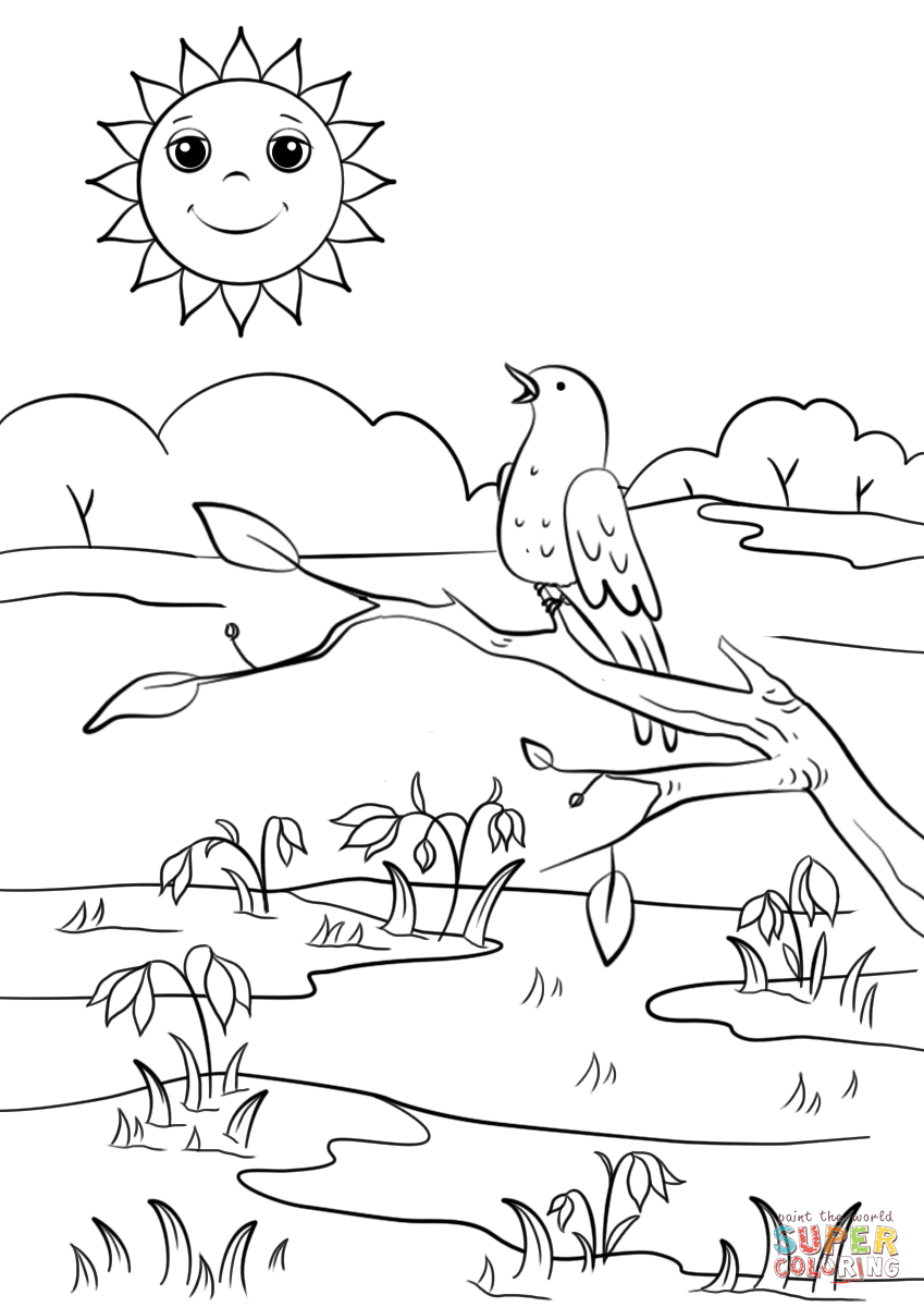849x1200 spring scene coloring pages
