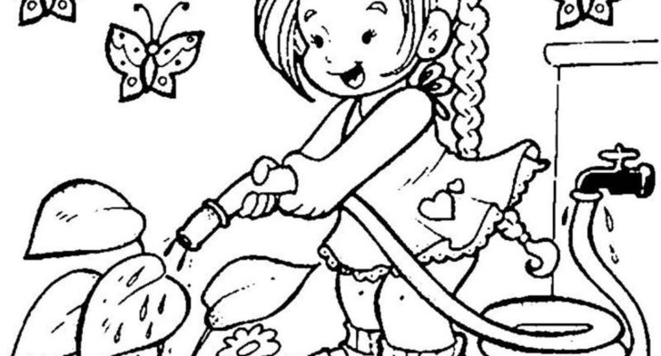 728x393 Spring Scene Coloring Pages Spring Coloring Sheets Scene Of Spring