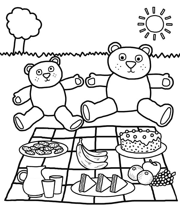Picnic scene drawing at free for for Picnic scene coloring page