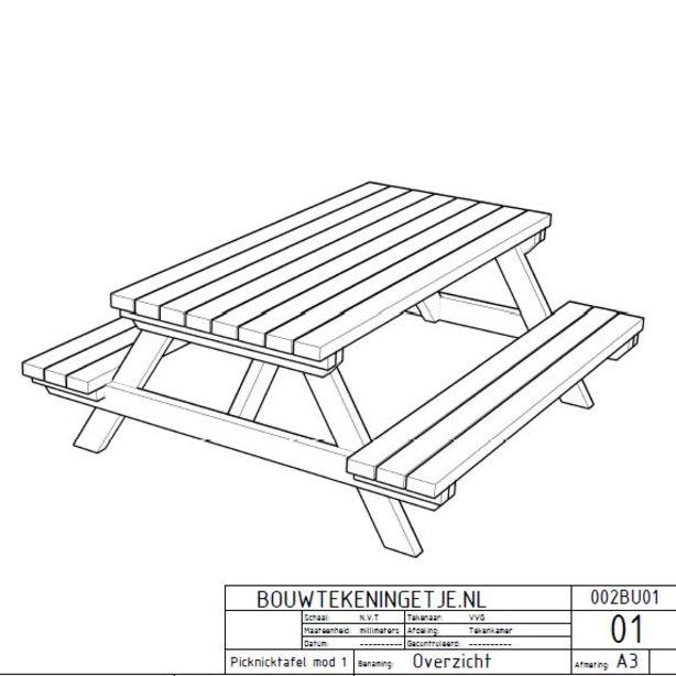 614x614 Bouwtekening Van Een Leuke Picknicktafel Lekker Degelijk