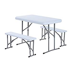 300x300 Outsunny 3pc Folding Portable Camp Table Stool Set Outdoor Garden