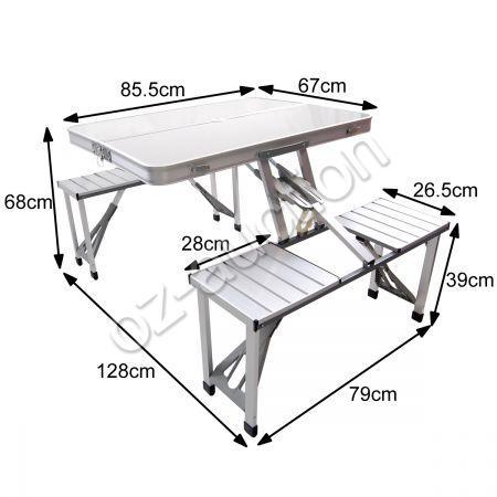 450x450 Aluminium Folding Portable Picnic Outdoor Camping Set Table Amp 4