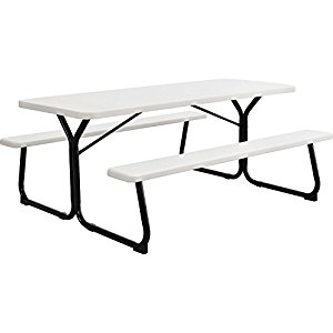 300x300 6' Plastic Picnic Table, Blow Molded Plastic, 72 X