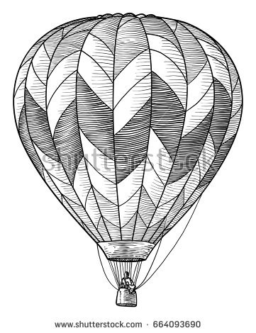 361x470 Air Balloon Drawing Hot Air Balloon Illustration Drawing Engraving