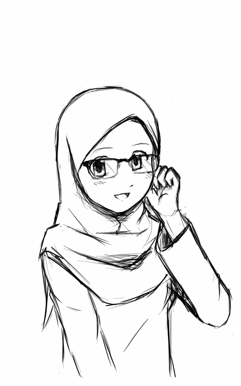 800x1280 Girl Wearing Hijab Drawing Sketch Of A Girl Wearing A Hijab Sketch